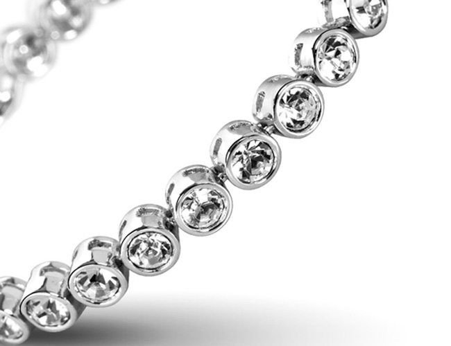 Bracelet Cristaux Swarovski Cristal Clair, Rhodium .