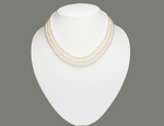 Collier de Perles de Culture Eau Douce 3 Rangs 6 à 7mm Blanc