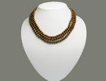 Collier de Perles de Culture Eau Douce 3 Rangs 6-7mm Bronze