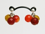 Boucles d`Oreilles Clous Agathe Facettée Jaune Orange Rouge