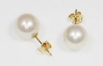 Boucles d`Oreilles Perles de Culture 9.5mm Blanc AAA Or 18ct