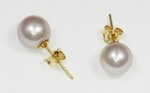 Boucles d`Oreilles Perles de Culture 7.5mm Lavande AAA Or18k