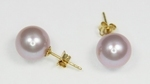 Boucles d`Oreilles Perles de Culture 9.5mm Lavande AAA Or18k